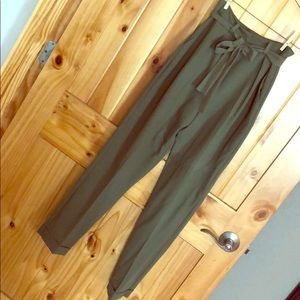 ASOS Obi Tie Peg Leg Olive Green Pants